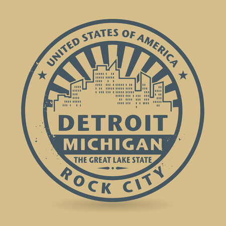 Grunge rubber stamp with name of Michigan, Detroit Vector