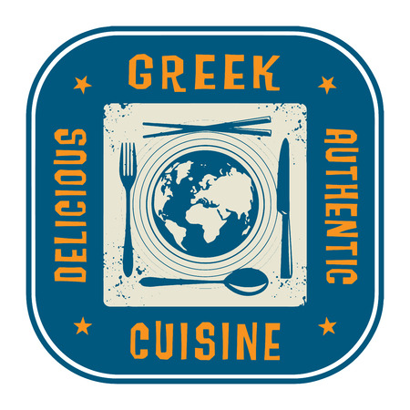 Abstract stamp or label with the text Authentic Greek Cuisine written inside Vector