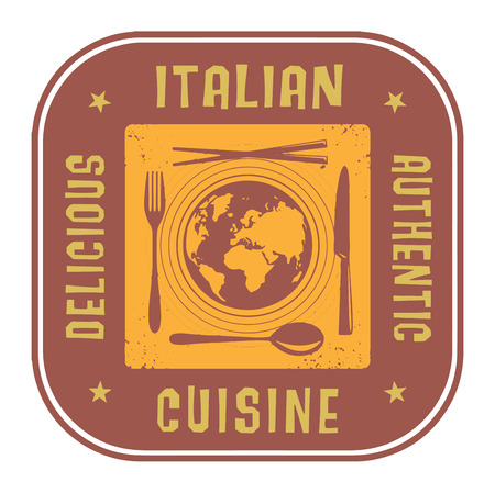 italian cuisine: Abstract stamp or label with the text Authentic Italian Cuisine written inside