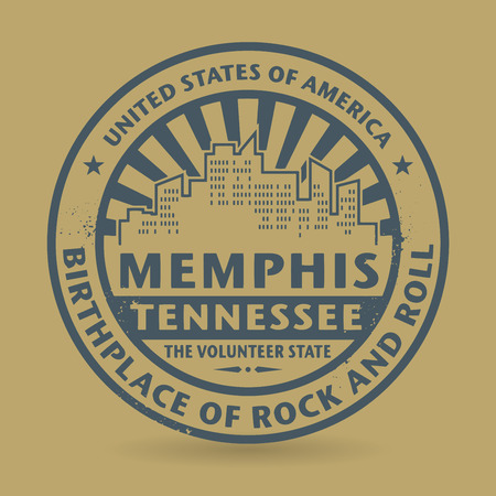 memphis: Grunge rubber stamp with name of Tennessee, Memphis