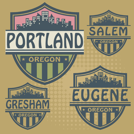 portland: Label set with names of Oregon cities