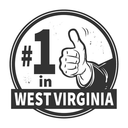 Abstract grunge rubber stamp or label with text Number One in West Virginia written inside Vector