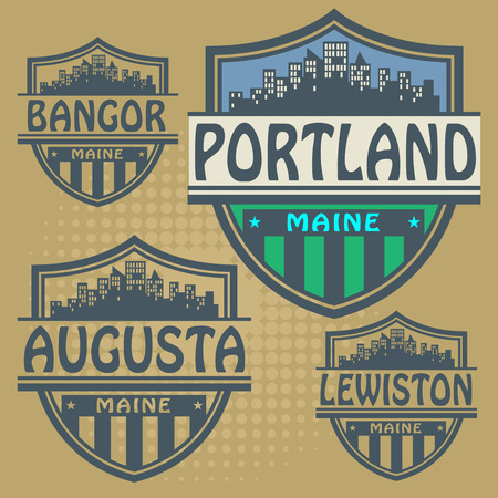 portland: Label set with names of Maine cities