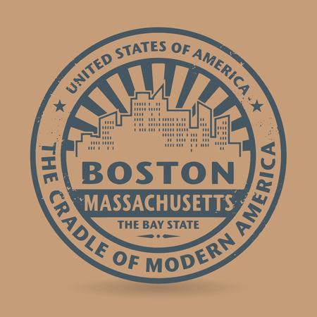 boston: Grunge rubber stamp with name of Boston, Massachusetts