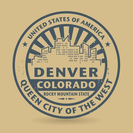 Денвер: Гранж штамп с именем Денвера, штат Колорадо