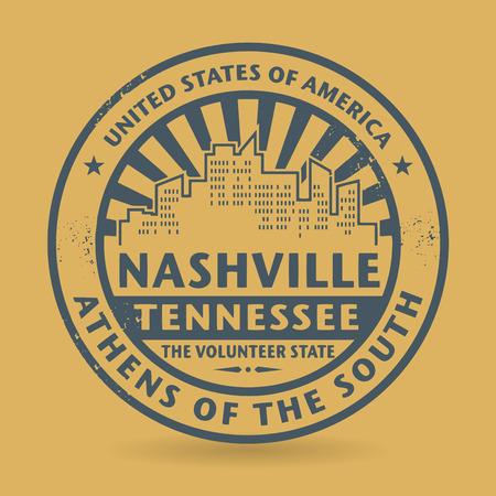 nashville: Grunge rubber stamp with name of Nashville, Tennessee