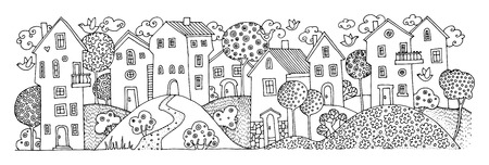 city alley: Cartoon hand drawing houses Illustration
