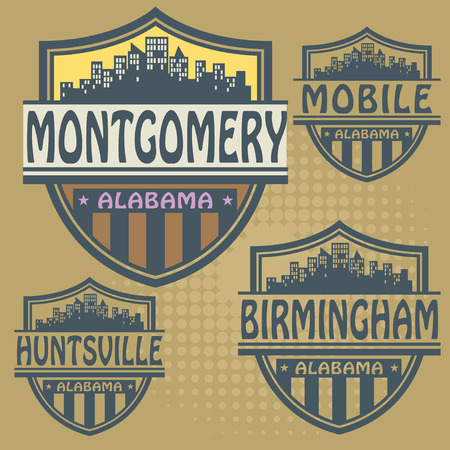 montgomery: Label set with names of Alabama cities Illustration