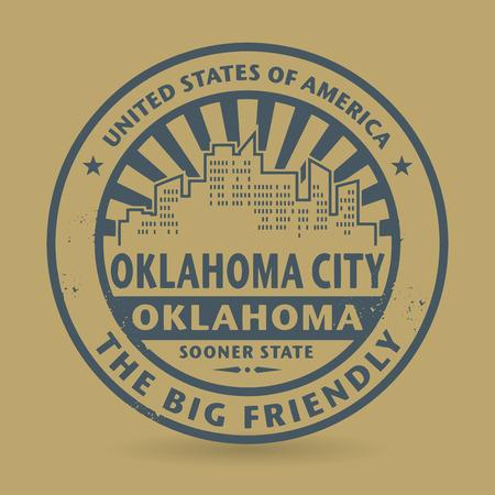 oklahoma: Grunge rubber stamp with name of Oklahoma City, Oklahoma Illustration