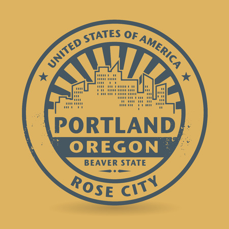 portland: Grunge rubber stamp with name of Portland, Oregon