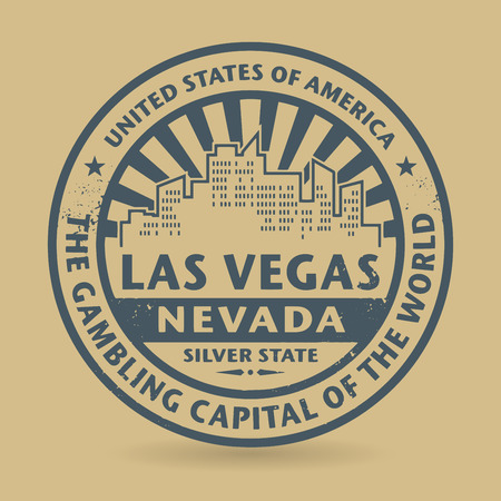 vegas sign: Grunge rubber stamp with name of Las Vegas, Nevada