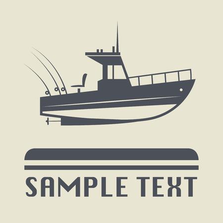 bateau de peche: Moteur icône du bateau ou le signe