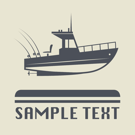 fisherman boat: Motor boat icon or sign