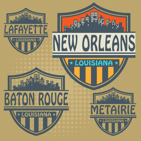Label set with names of Louisiana cities Vector