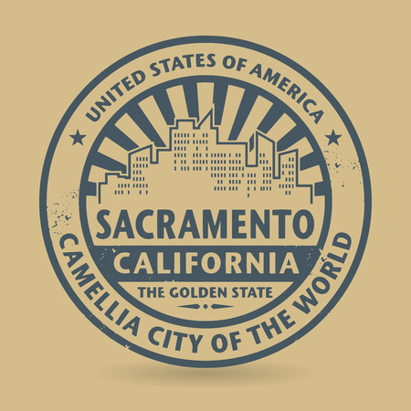 sacramento: Grunge rubber stamp with name of Sacramento, California
