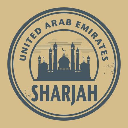 sharjah: Stamp or label with text Sharjah, United Arab Emirates inside Illustration