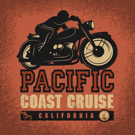 Vintage Motorcycle adventure poster, vector illustration