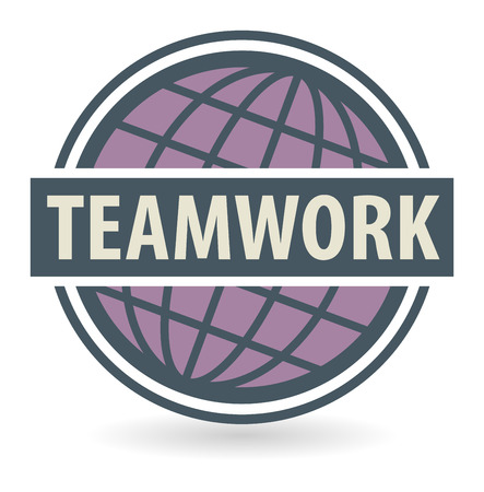 Abstract stamp or label with the text Teamwork written inside, vector illustration Vector