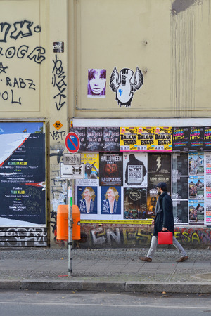 BERLIN, OCTOBER 27: Graffiti in the Kreuzberg district on October 27, 2014 in Berlin, Germany. Graffiti in the Kreuzberg district are one of the main alternative landmarks of the city.