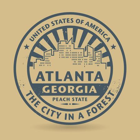 atlanta tourism: Grunge rubber stamp with name of Atlanta, Georgia