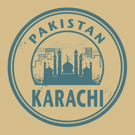 karachi: Stamp or label with text Karachi, Pakistan inside Illustration
