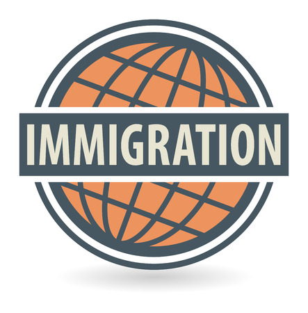 citizenship: Abstract stamp or label with the text Immigration written inside Illustration
