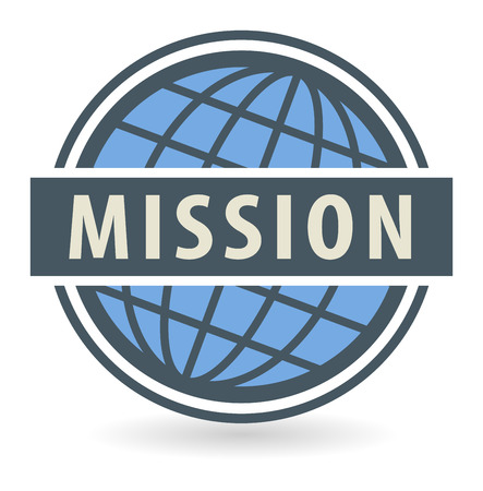 missionary: Abstract stamp or label with the text Mission written inside