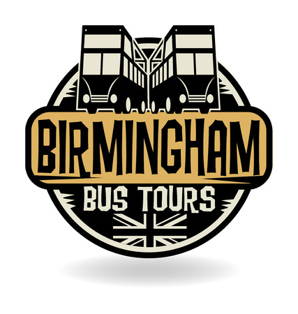 birmingham: Abstract stamp with text Birmingham, Bus Tours