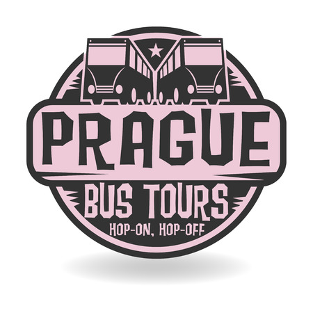 Abstract stamp with text Prague, Bus Tours Vector