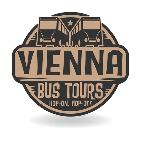 Abstract stamp with text Vienna, Bus Tours Vector