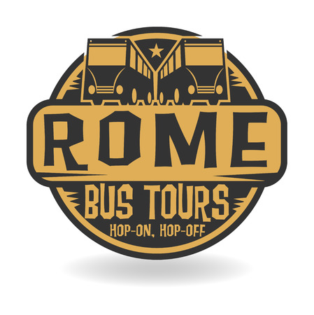 Abstract stamp with text Rome, Bus Tours Vector