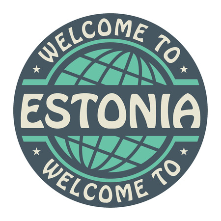 Color stamp with text Welcome to Estonia inside Vector