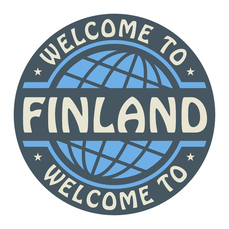 Color stamp with text Welcome to Finland inside Vector