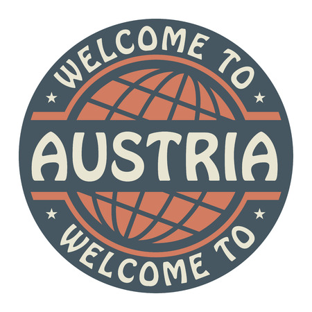 Color stamp with text Welcome to Austria inside Vector