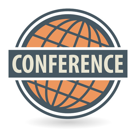 Abstract stamp or label with the text Conference written inside Vector