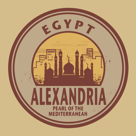 Stamp or label with text Alexandria, Egypt inside, vector illustration