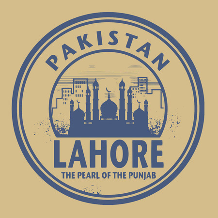 pakistan: Stamp or label with text Lahore, Pakistan inside, vector illustration