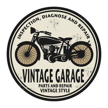 illustration technique: Grunge rubber stamp with the words Vintage Garage inside, vector illustration