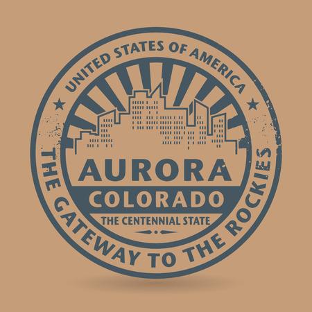 aurora: Grunge rubber stamp with name of Aurora, Colorado, vector illustration