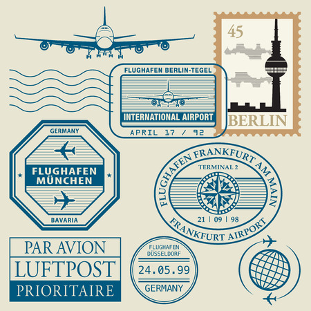 frankfurt: Travel stamps set, vector illustration