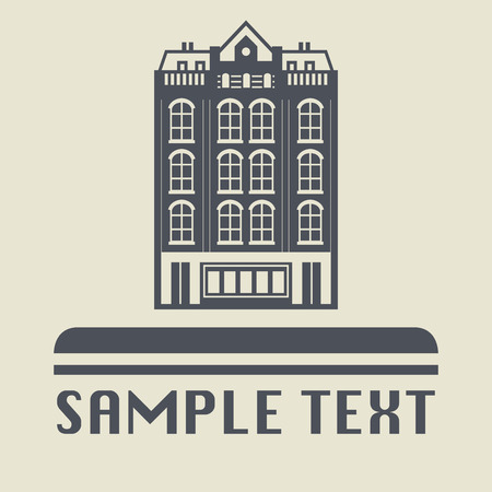 city building: City building icon or sign, vector illustration Illustration