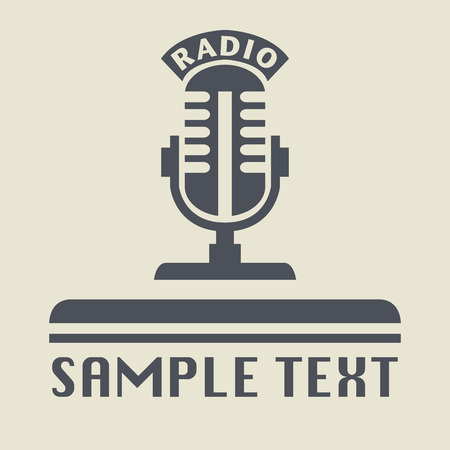 old sign: Radio microphone icon or sign, vector illustration