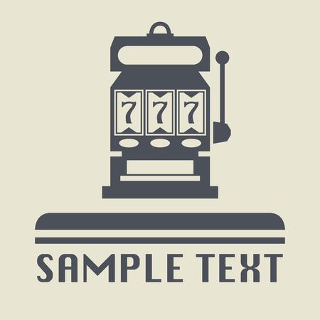 maquinas tragamonedas: Icono de la m�quina de ranura o signo, ilustraci�n vectorial