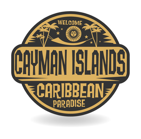 caribbean island: Stamp or label with the name of Cayman Islands, vector illustration Illustration