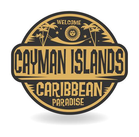 cayman: Tampon ou une �tiquette avec le nom des �les Ca�mans, illustration vectorielle Illustration