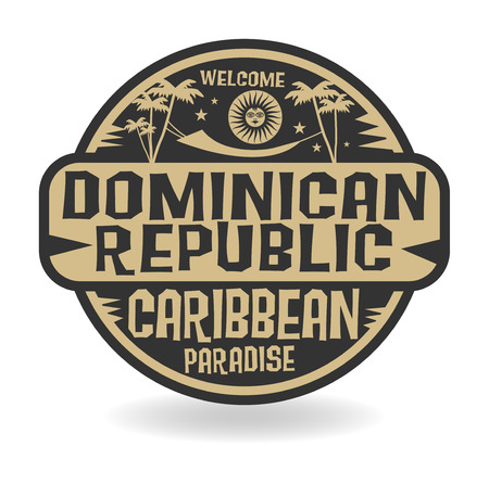 caribbean beach: Stamp or label with the name of Dominican Republic, vector illustration
