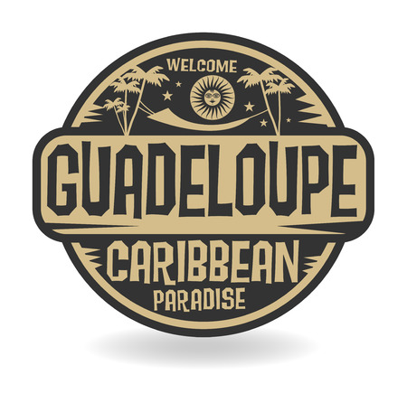 caribbean beach: Stamp or label with the name of Guadeloupe, vector illustration