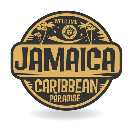 jamaica: Stamp or label with the name of Jamaica, vector illustration
