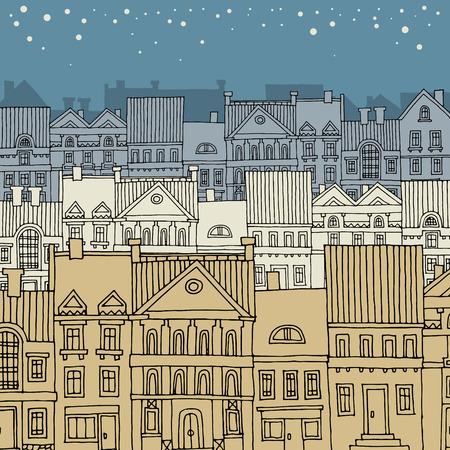 Cartoon hand drawing city Vector
