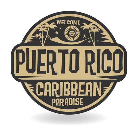 Stamp or label with the name of Puerto Rico, vector illustration 일러스트